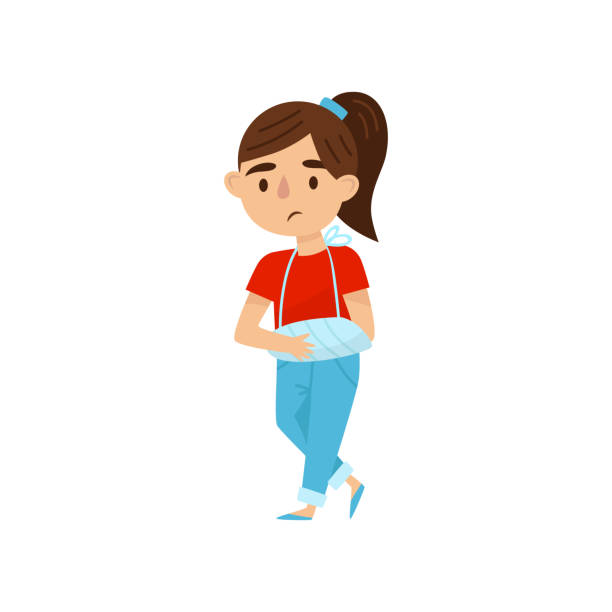 Cute girl with broken arm in bandages. Little child with injury. Kid with sad face expression. Flat vector design vector art illustration