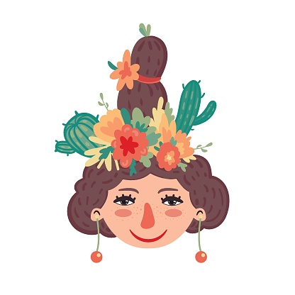 Cute girl with cacti in hairstyle. Cinco de mayo. Vector illustration.