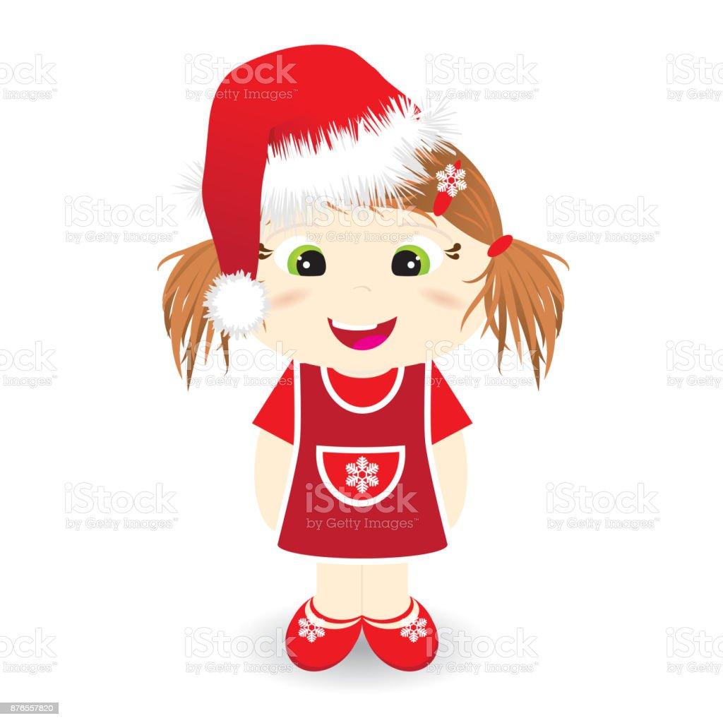 Cute girl with christmas hat - vector illustration vector art illustration