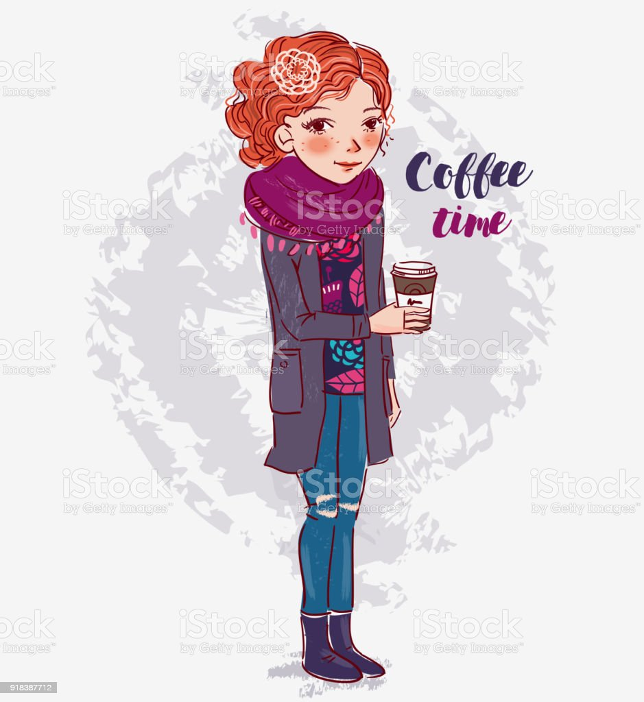 Jolie fille avec une tasse de café - Illustration vectorielle