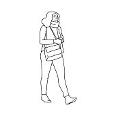 Cute girl with crossbody bag taking a walk. Black lines isolated on white background. Concept. Vector illustration of girl in scarf going for a stroll in simple line art style. Monochrome minimalism
