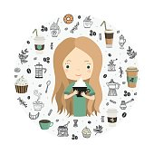 Cute girl with cup of coffee