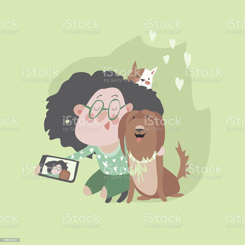 Cute girl with dog and cat makes selfie vector art illustration