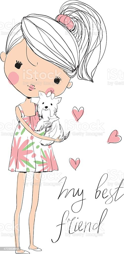 cute girl with dog royalty-free stock vector art