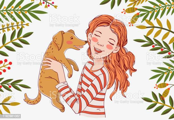 Cute girl with funny dog portrait of a beautiful child with little vector id1162681052?b=1&k=6&m=1162681052&s=612x612&h=onqgoez9d8mitr3u5jxhtngehokf wwwt lyuibyuum=