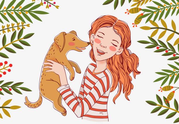 illustrazioni stock, clip art, cartoni animati e icone di tendenza di cute girl with funny dog. portrait of a beautiful child with little pet - bambino cane