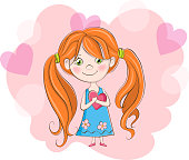 cute girl with heart on Valentine's day background