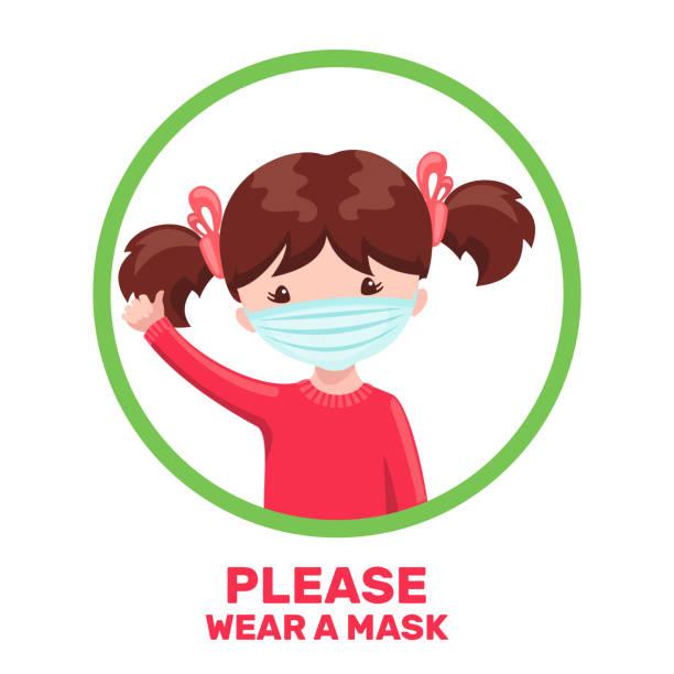 illustrations, cliparts, dessins animés et icônes de fille mignonne avec le masque médical dans le modèle de dessin animé isolement sur le fond blanc. - enfant masque