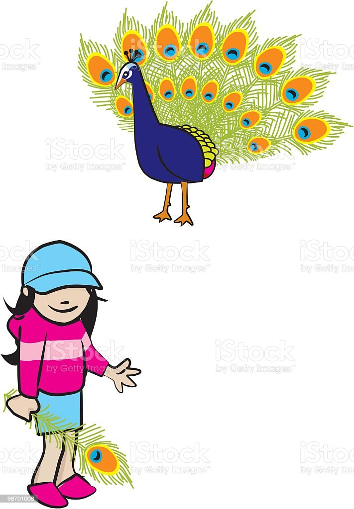 cute girl with peacock and feather royalty-free cute girl with peacock and feather stock vector art & more images of animal