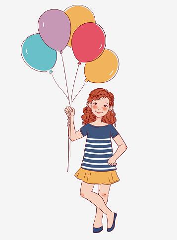 Cute girl with pink balloon. Happy birthday vector illustration