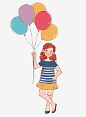 Cute girl with pink balloon. Happy birthday vector illustration