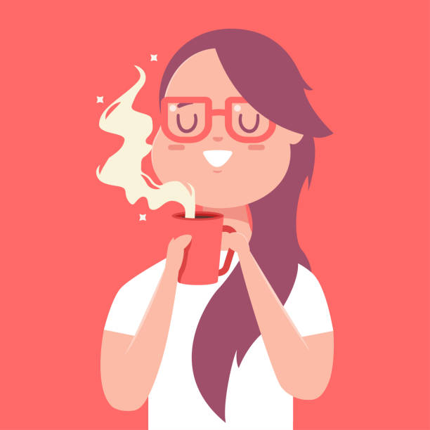 ilustrações de stock, clip art, desenhos animados e ícones de cute girl with red cup of coffee or tea. vector cartoon woman character isolated on background. - pausa para café