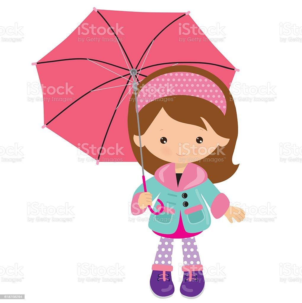Cute girl with umbrella vector cartoon illustration vector art illustration