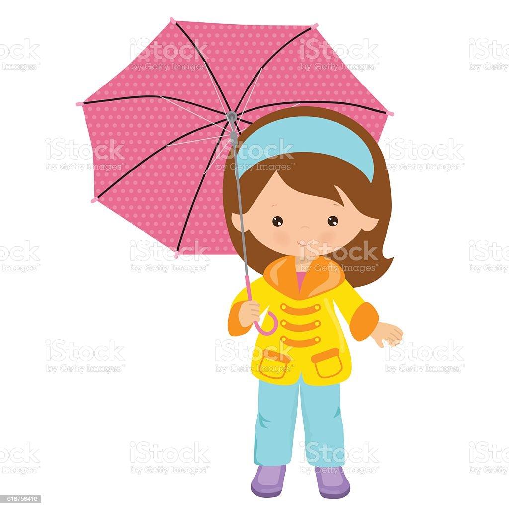 cute with umbrella vector cartoon illustration stock vector