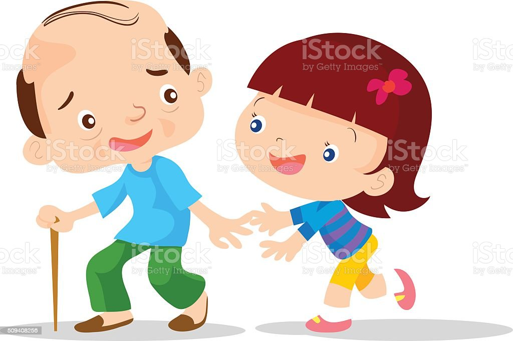 Cute girls aged care vector art illustration