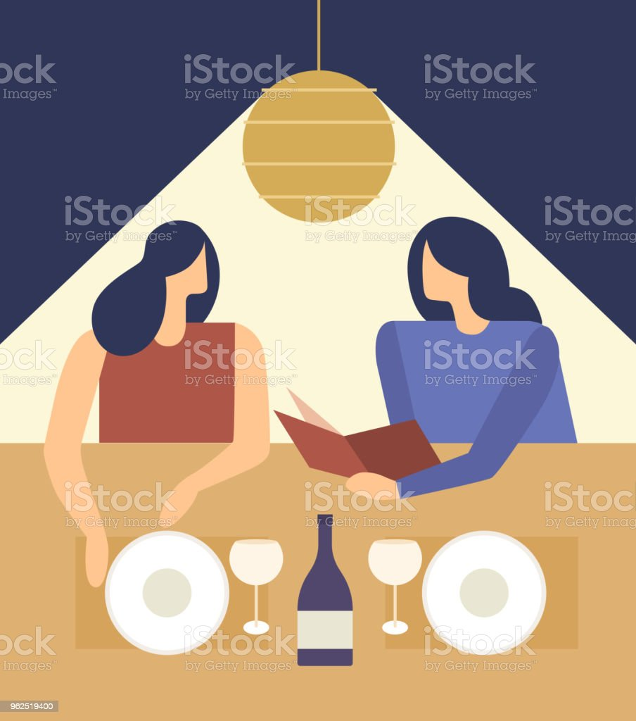 Cute girls choosing from a Restaurant Menu. - Royalty-free Adult stock vector