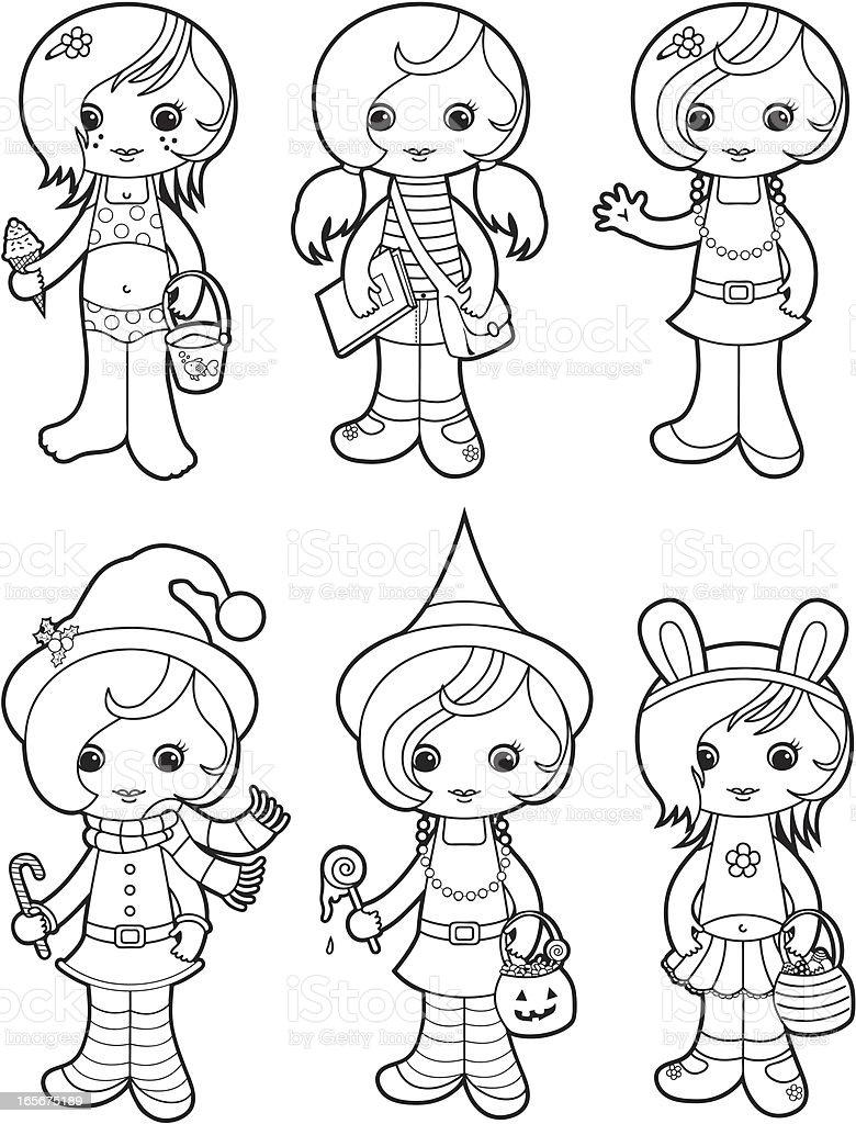 Cute girls coloring set royalty-free stock vector art