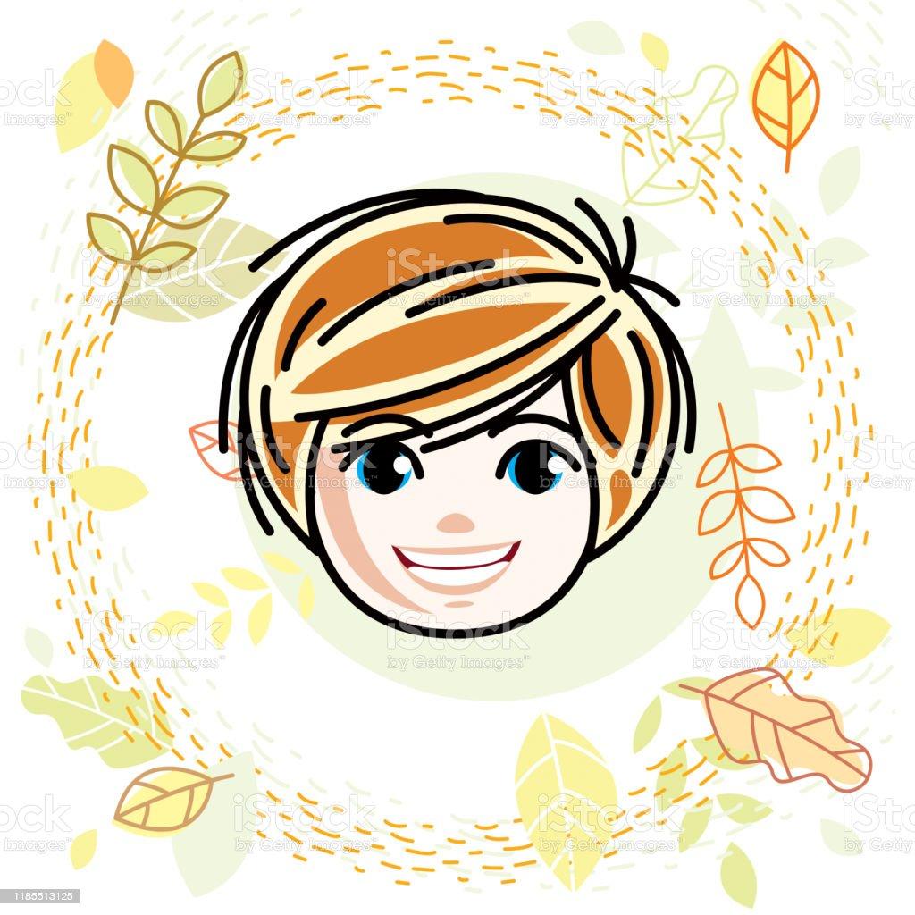 かわいい女の子の顔人間の頭ベクトル赤毛のキャラクター笑顔の