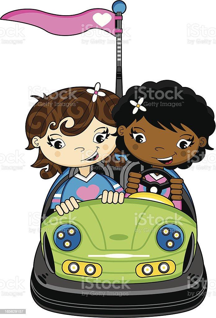 Linda niñas en Dodgem autos de choques - ilustración de arte vectorial