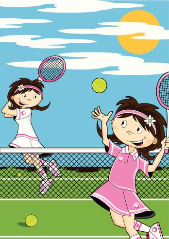 Cute Girls Playing Tennis