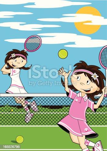 istock Cute Girls Playing Tennis 165526795