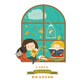 Cute girls reading book by the window. Vector illustration