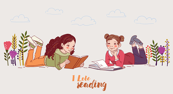 Cute girls reading books in the garden. Nature landscape background. Summer holidays illustration. Vacation time