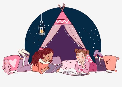 Cute girls reading books
