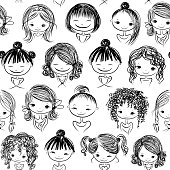 Cute girls, seamless pattern for your design