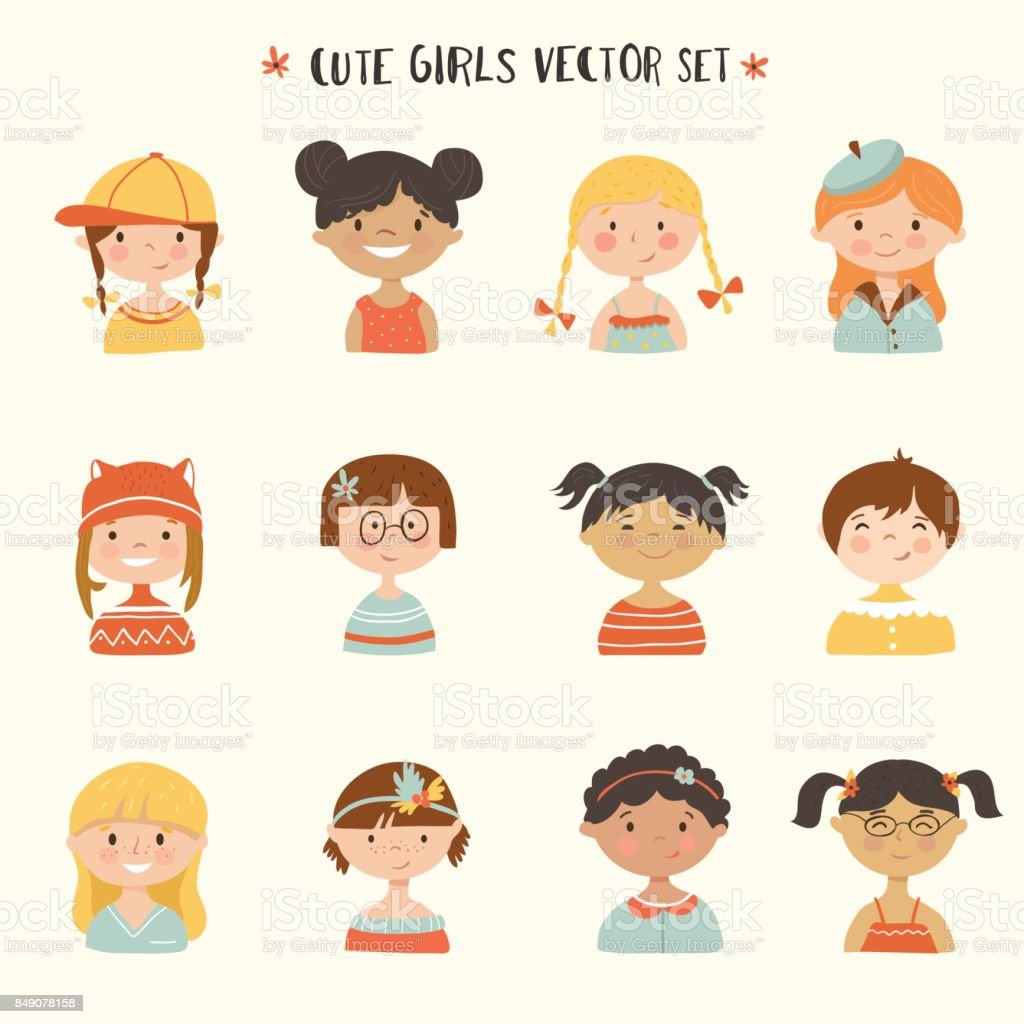 Cute girls smiling. - illustrazione arte vettoriale