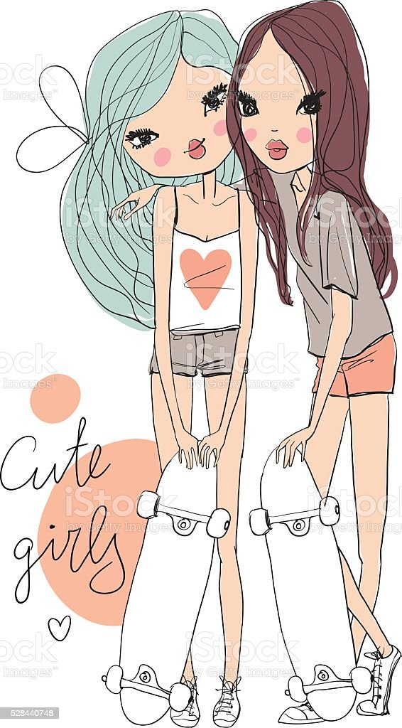 Cute girls with camera and lettering vector art illustration