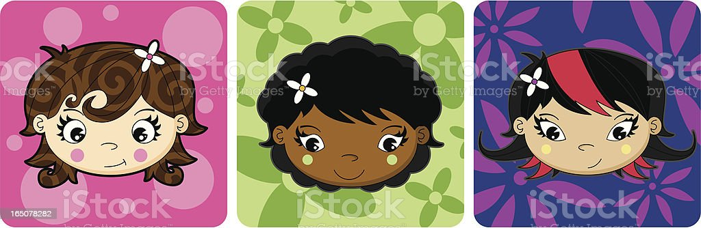 Cute Girls's Faces Icon Set royalty-free stock vector art