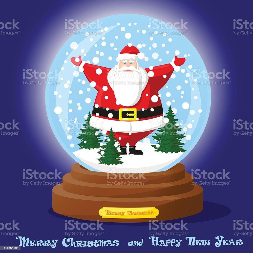 cute glass snow globe snowflakes christmas tree and funny santa
