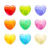 Cute glossy colorful hearts set