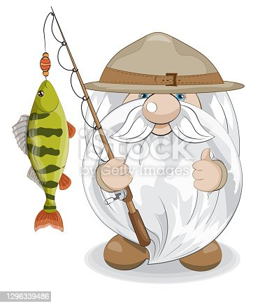 cute gnome scout with perch on rod.