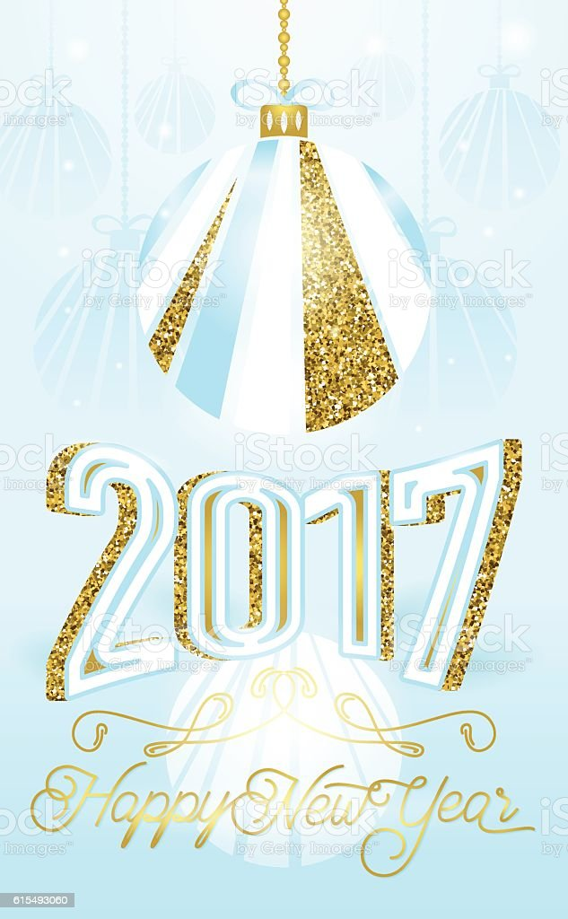 Cute Golden 2017 Happy New Year Greeting Card On Blue Stock Vector ...