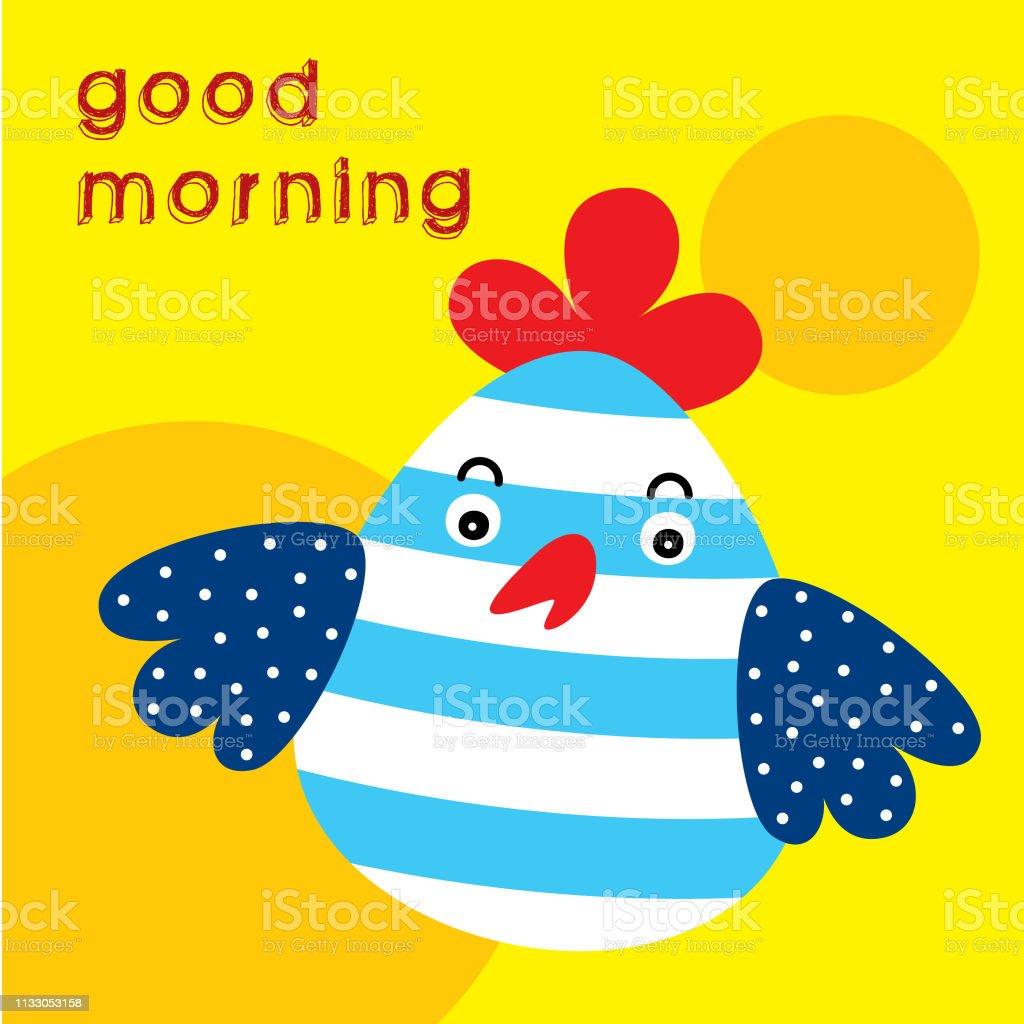 Niedlicher Guten Morgen Hühnergrücher Vektor Stock Vektor