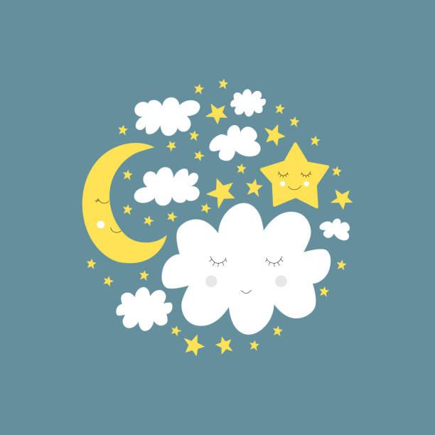 Cute good night concept. Baby sleep design. Vector illustration. Cute good night concept. Baby sleep design. Vector illustration. bedroom borders stock illustrations