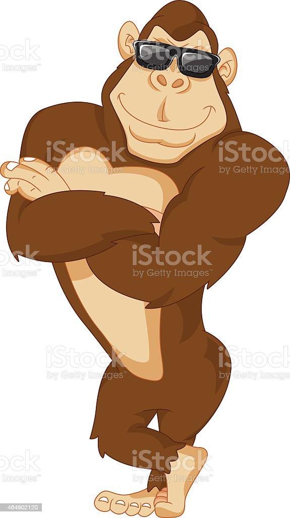 cute gorilla cartoon vector art illustration