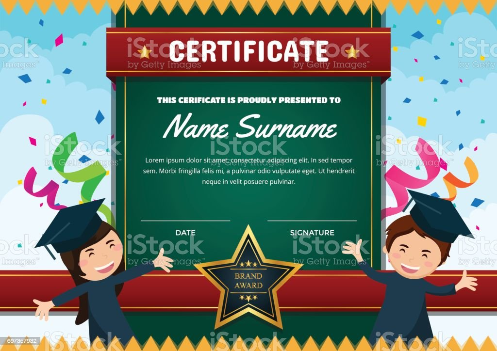 Cute graduation theme children certificate of achievement and cute graduation theme children certificate of achievement and appreciation template royalty free cute graduation theme yelopaper Choice Image