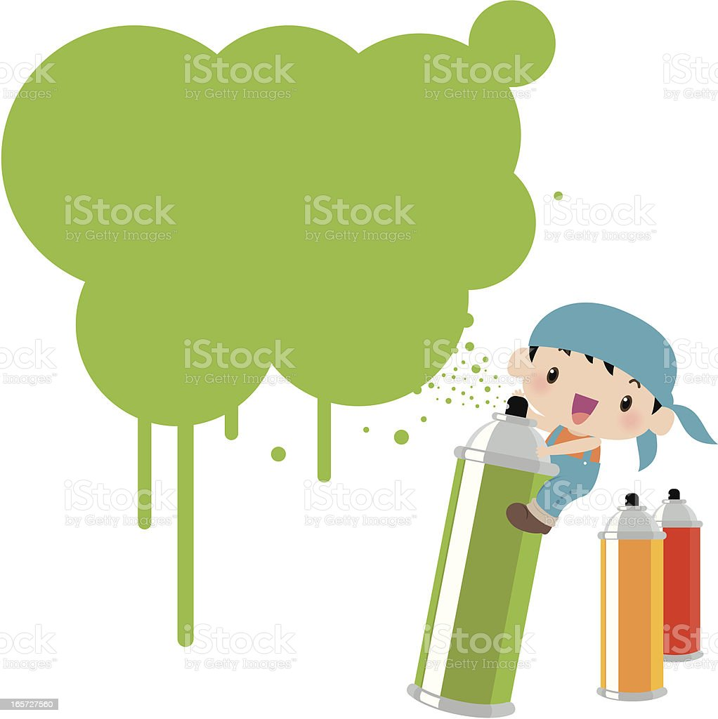 Cute Graffiti Kid With Spray Paint Can And Ink vector art illustration