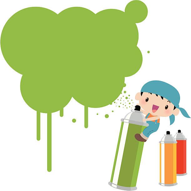 süße graffiti kind mit sprühfarbe können und tinte - kunstunterricht stock-grafiken, -clipart, -cartoons und -symbole