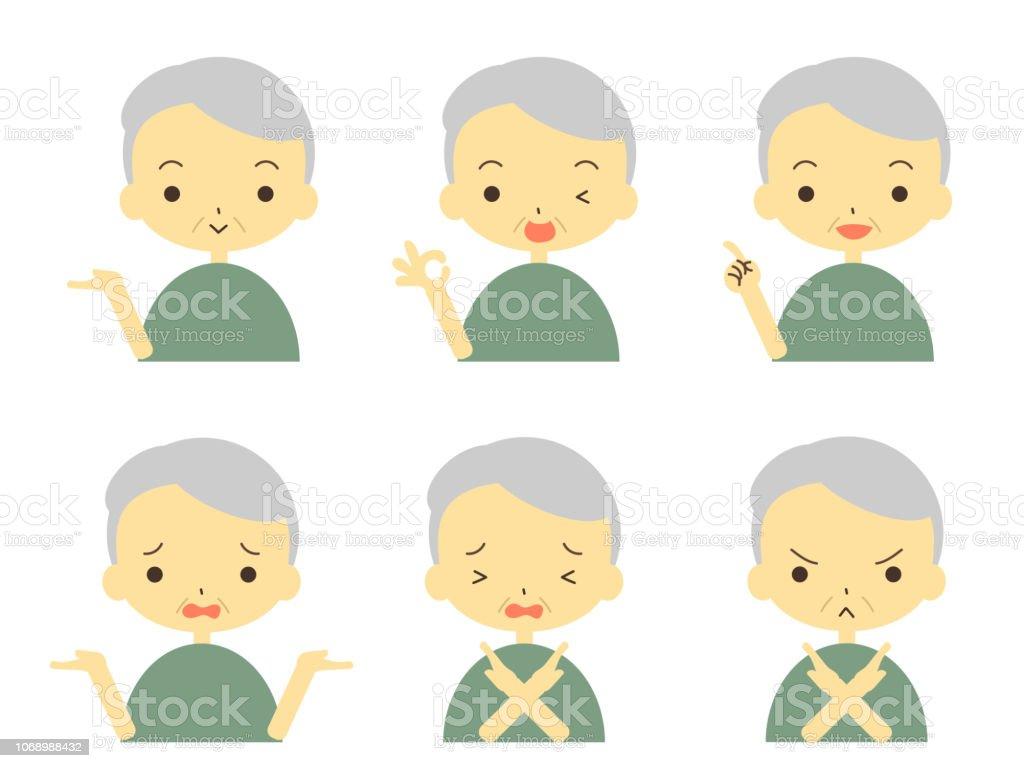 cute grandpa icon set vector art illustration