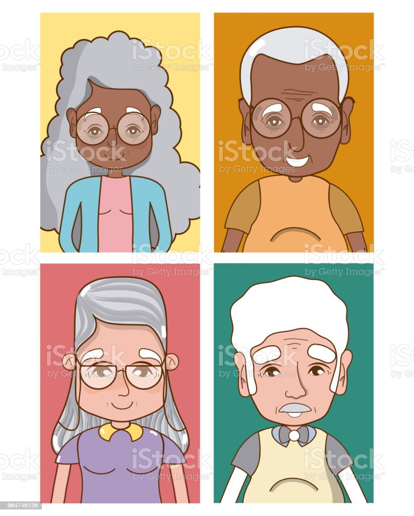 Cute grandparents cartoons royalty-free cute grandparents cartoons stock illustration - download image now