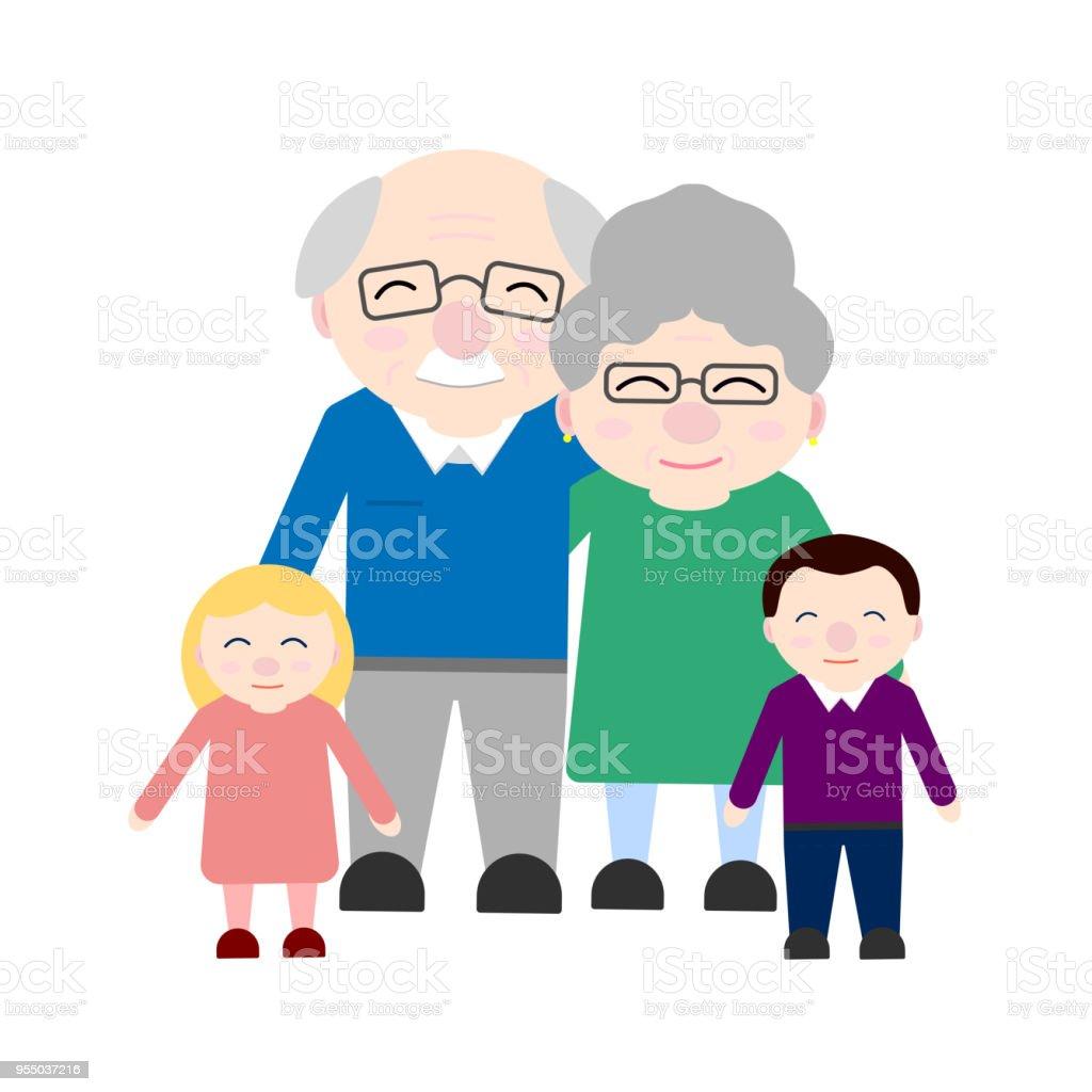 Cute grandparents with grandchildren. Happy Grandparent's day vector art illustration
