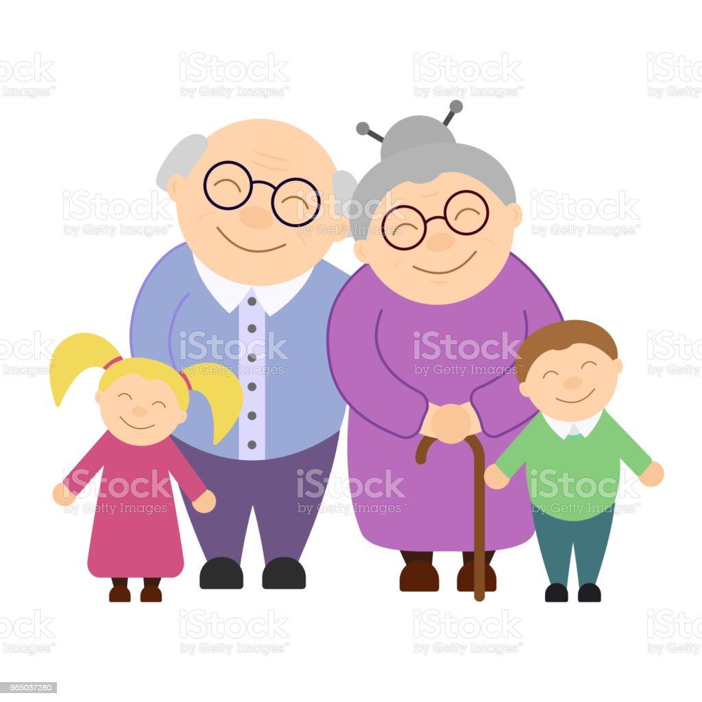 Cute grandparents with grandchildren vector art illustration
