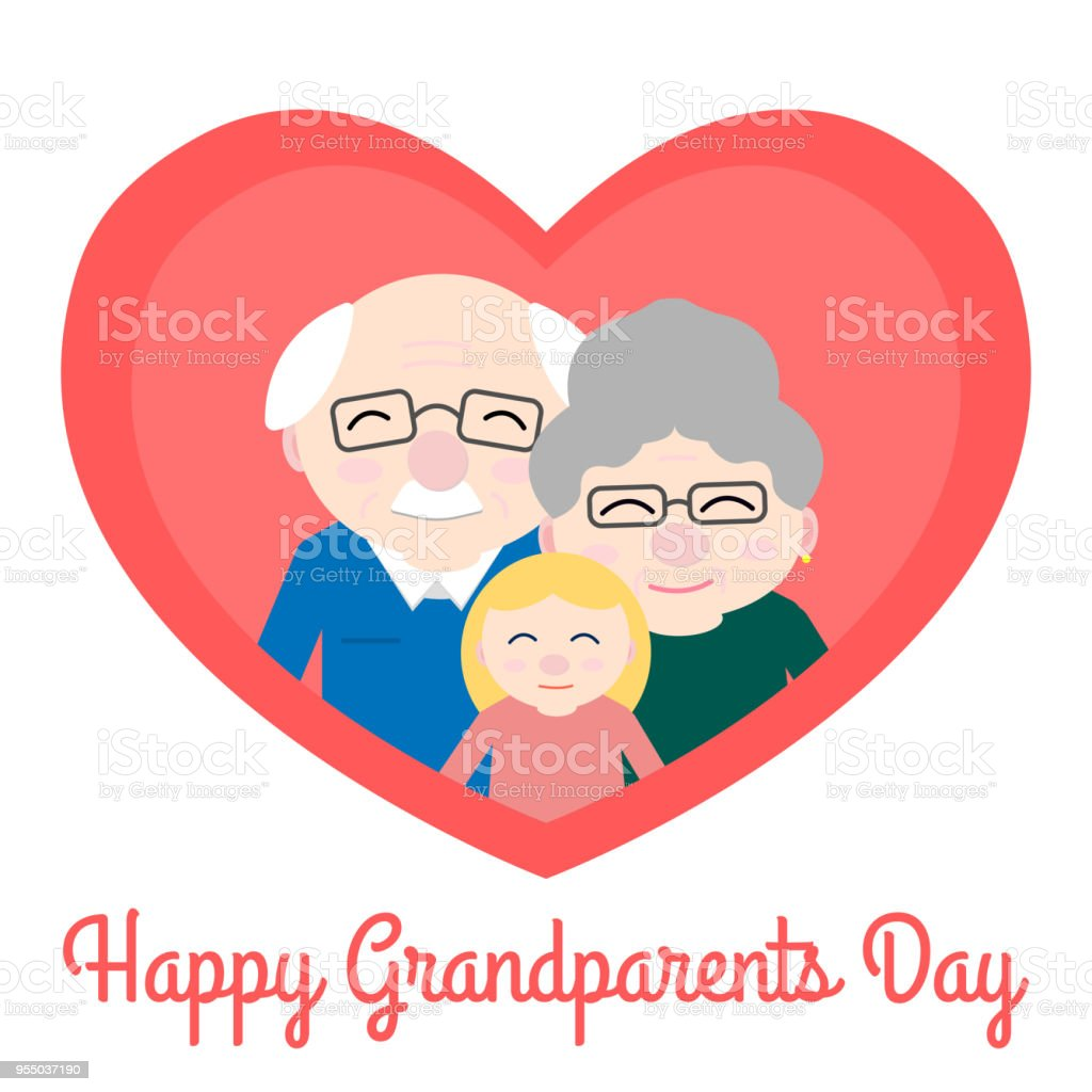 Cute grandparents with granddaughter in heart vector art illustration