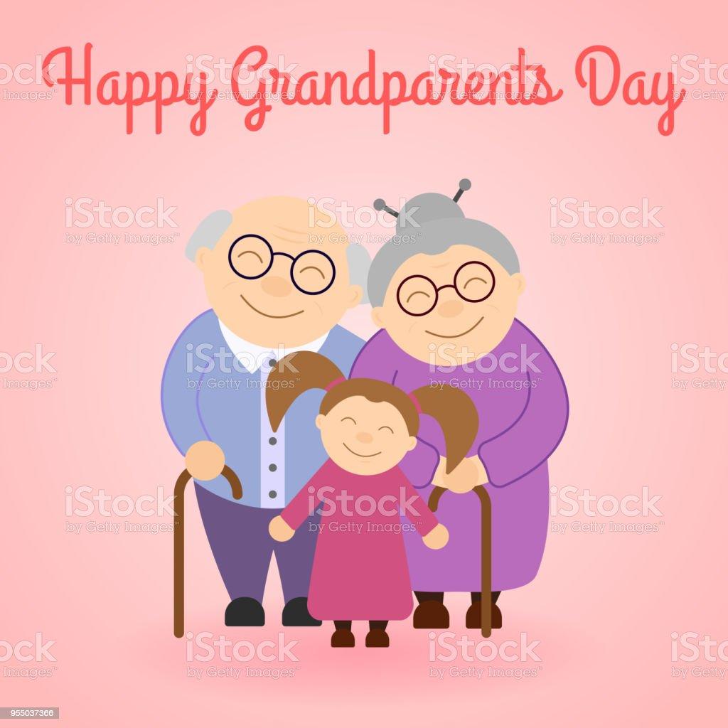 Cute grandparents with granddaughter vector art illustration