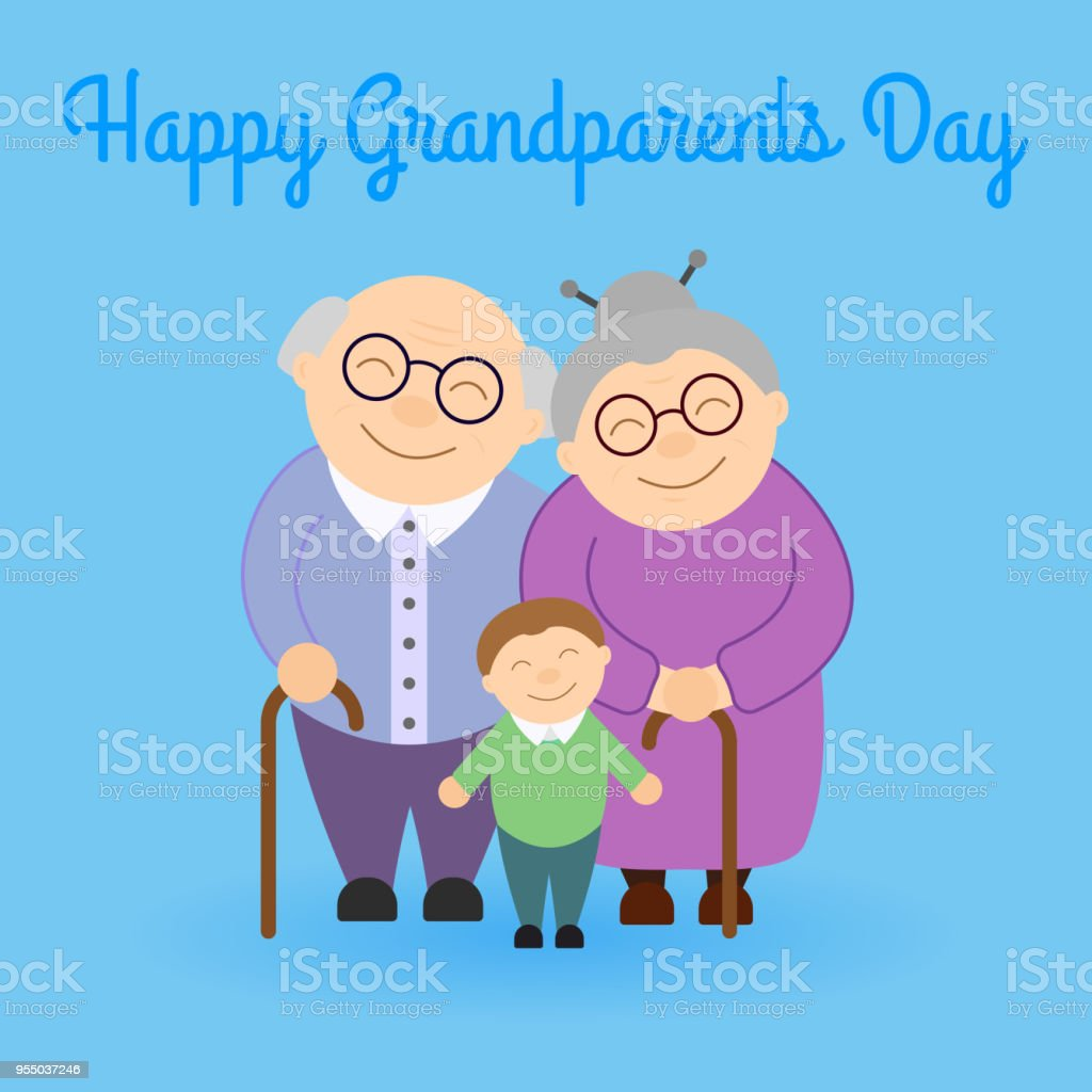 かわいい祖父母の孫と ベクターアートイラスト