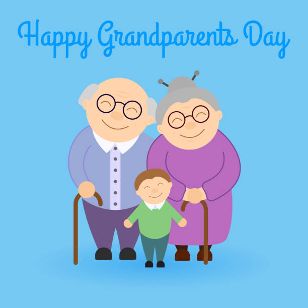 Cute grandparents with grandson vector art illustration